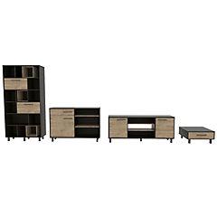 Set sala de estar 4 muebles wengue/miel