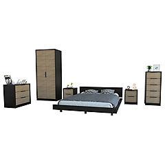 Set dormitorio 4 muebles wengue/miel
