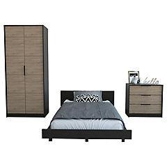 Set cama 1,5 plazas + clóset +cómoda 3 cajones wengue/miel
