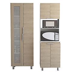 Set mueble microondas+despensa oak/blanco