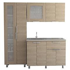 Kit cocina 3 muebles oak/blanco
