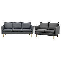 Juego de living sofá 3 cuerpos + sofá 2 cuerpos gris oscuro