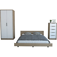 Set cama 2 plazas + clóset + cómoda 5 cajones miel/blanco