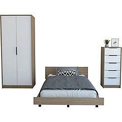 Set cama 1,5 plazas + clóset + cómoda 5 cajones miel/blanco