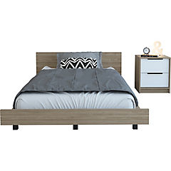 Set cama 1,5 plazas + 1 velador miel/blanco