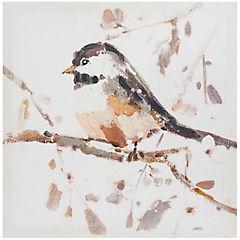 Canvas con aplicaciones de oleo pajaro 30x30 cm