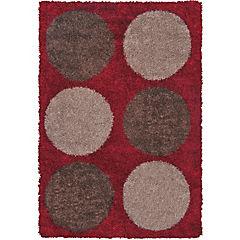 Alfombra Shaggy 133x180 círculos burdeo