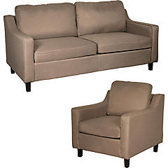 Juego de living sofá 3 cuerpos + sillón capuccino