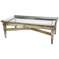 Mesa de centro madera con espejo plateado envejecido