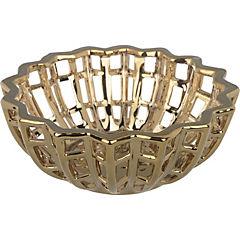 Fuente cerámica dorada