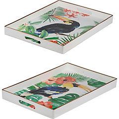 Set de 2 bandejas de plástico diseño tropical