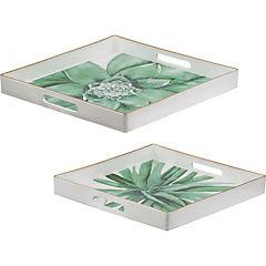 Set de 2 bandejas plástico diseño tropical
