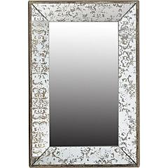 Espejo en madera de abeto con detalles color plateado envejecido