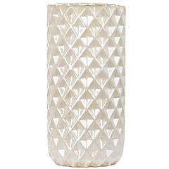 Florero cerámica blanco nácar con detalles geométricos