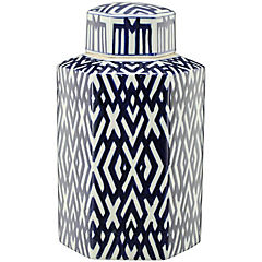 Jarrón cerámica diseño geométrico azul 22 cm