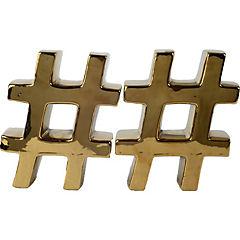 Set de 2 sujetalibros con la letra # cerámica dorado