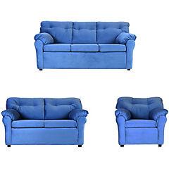 Juego living sofá 3 cuerpos + sofá 2 cuerpos + sillón tela azul petróleo