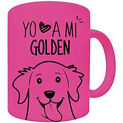 Tazón fluor rosado golden reriever