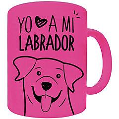 Tazón fluor rosado labrador retriever café