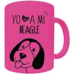 Tazón fluor rosado beagle