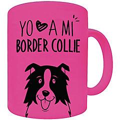 Tazón fluor rosado border collie