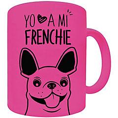 Tazón fluor rosado bull dog francés gris