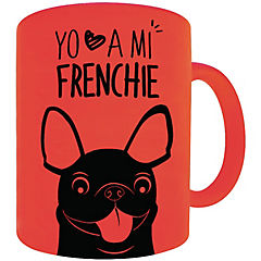 Tazón fluor naranjo bull dog francés negro