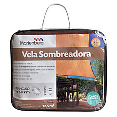 Vela sombreadora triangular de 5,0 x 5,0 x 7,0 m terracota