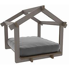 Casa mascota color madera castaño + colchón gris
