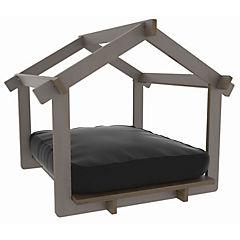 Casa para mascota color madera castaño + colchón negro