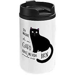 Mug mini blanco gato negro