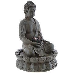 Buda en fuente con flor de loto 48x32 cm resina
