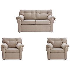 Juego living sofá 2 cuerpos + 2 sillones tela beige