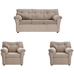 Juego living sofá tela 3 cuerpos + 2 sillones beige