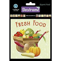 Sticker decorativo organic food 15x15 cm 12 unidades