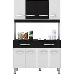 Mueble cocina 8 puertas 2 cajones blanco/negro - Altavision - 4117433