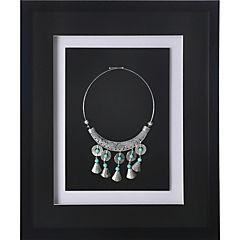 Cuadro joya plata turquesa marco negro 37,5x44,5x3 cm