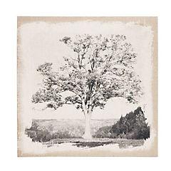 Cuadro de lino con grabado de árbol