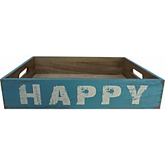 Bandeja madera happy celeste 8x39x25 cm