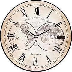 Reloj pared mundo beige 40 cm