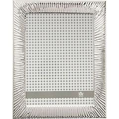 Marco metal plateado borde raya 15x20 cm