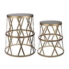 Set de 2 mesas laterales mediana y pequeña dorado