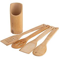 Set 5 cuchara madera con base