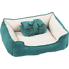 3 en 1 cama/manta/cojín verde
