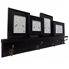 Repisa madera 4 ganchos 6x63x30 cm