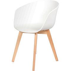 Silla polipropileno/madera 47x53x80 cm blanco