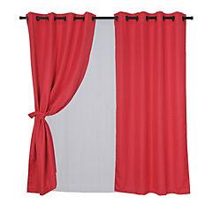 Set cortina rústica 140x220 cm atacama rojo