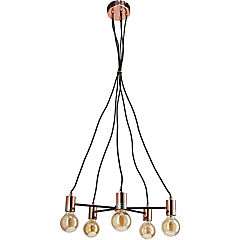 Lámpara de colgar Metal 5L Negro y Cobre