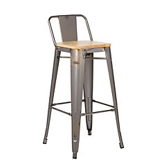 Piso respaldo bajo acero con asiento madera 66 cm