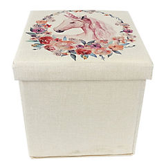 Caja plegable tipo taburete unicornio